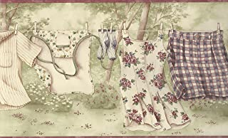 Wallpaper Border Clothesline Laundry Burgundy Green Cream Purple