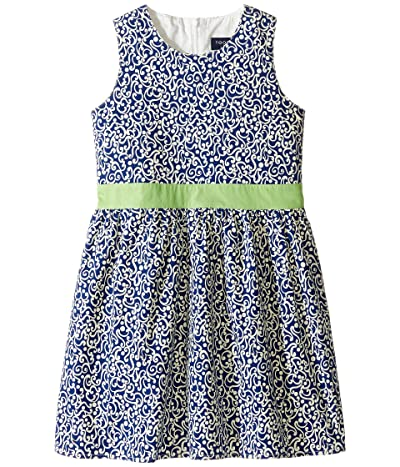 Toobydoo Belted Navy and White Party Dress (Infant/Toddler/Little Kids/Big Kids) (Navy/White/Green) Girl