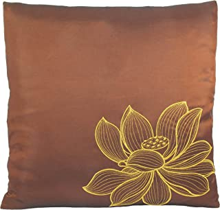 Contemporáneo de seda tailandesa funda de almohada (funda de cojín), color dorado bordado tamaño grande diseño de flor de loto, 16