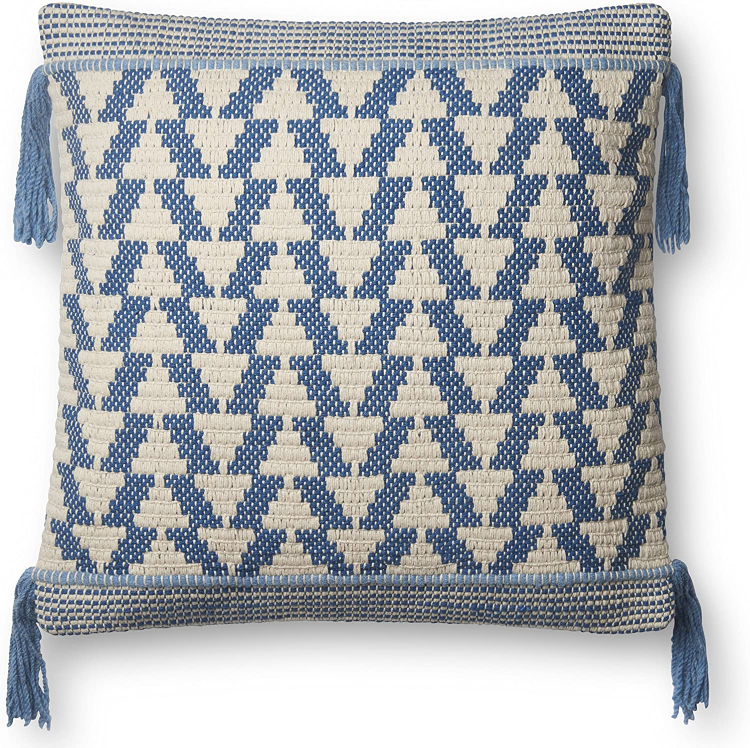 Loloi P0592 Pillow Cover Only No Fill, 22  x 22 , bluee Ivory