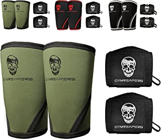 Gymreapers Elbow Sleeves (1 Pair) W/Wrist Wraps - Elbow Brace for Support & Compression for Powerlifting, Weightlifting, Bench & Tendonitis 5mm Neoprene - for Men & Women - 1 Year Warranty