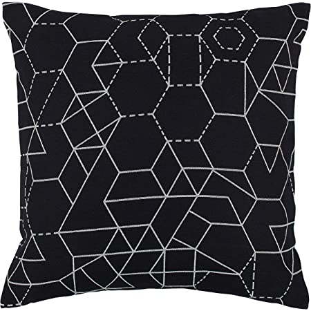 Amazon Com Amazon Brand Rivet Modern Geometric Decorative Print Throw Pillow 20 X 20 Black Home Kitchen