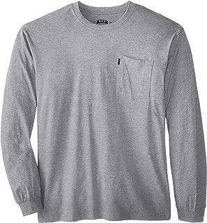 Key Apparel Men's Big-Tall Heavyweight Long Sleeve Pocket T-Shirt, Heather Grey, Large/Tall