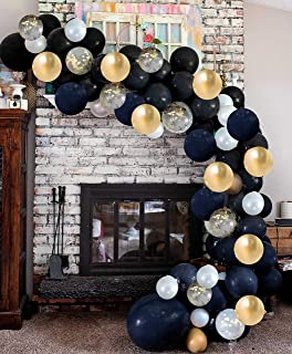 Vivuzono Balloon Arch Garland Kit Black White Gold Confetti Balloons in Assorted Sizes Decorations for Parties Wedding Baby Shower Graduation Includes Glue Dots Strip Inflator Pump