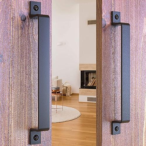 Barn Door Handles Black 12 inch Solid Steel Gate Handle Pulls for Sliding Barn Doors Gates Garages Sheds… (12 inch - ...
