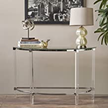 Christopher Knight Home Erin Modern Tempered Glass Console Table with Acrylic and Iron Accents, Clear