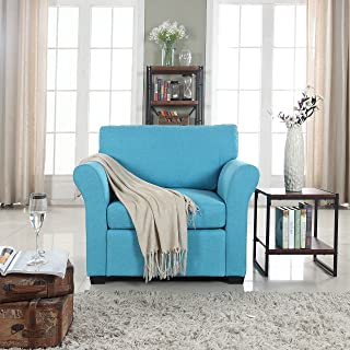 DIVANO ROMA FURNITURE Classic and Traditional Linen Fabric Accent Chair - Living Room Armchair (Blue)