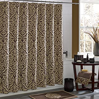 Five Queens Court Lafayette Jacquard Damask Shower Curtain, Mink