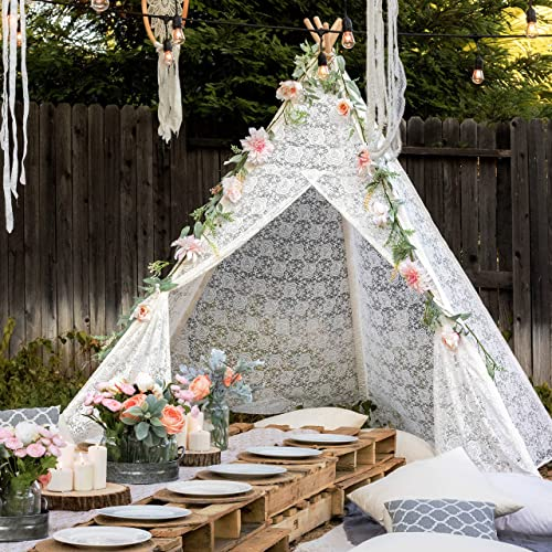 2021 Tiny 2021 Land Huge popular Lace Teepee Tent for Adult with Carry Bag, Wedding, Party, Photo Prop (87inches Tall) 5-Poles Lace Tipi for Indoor & Outdoor Use outlet online sale