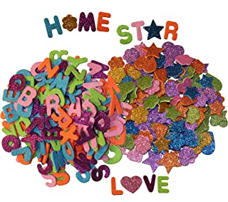 Letters and Shapes Foam Glitter Stickers (Pack of 280) Self Adhesive - Assorted Colors Kid's Arts Craft Supplies for Greeting Cards Home Decoration - Hearts, Stars, Flowers | 130 Letters & 150 Shapes