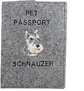 Schnauzer, Passport Wallet with Embroidered Pattern of a Dog