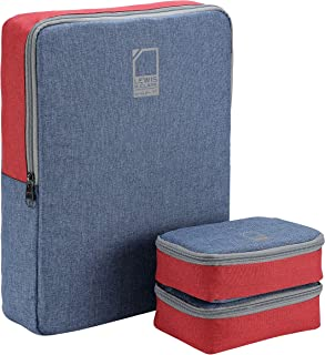 Lewis N. Clark Packing Cube + Travel Organizer for Luggage, Suitcase or Carry On, 3 Pack, Blue/Red