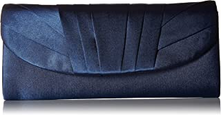 Jessica McClintock Angel Womens Satin Tuxedo Flap Evening Clutch Bag With Shoulder Chain Included