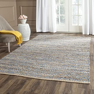 Safavieh Cape Cod Collection CAP350A Hand Woven Flatweave Chevron Natural and Blue Jute Area Rug (8' x 10')