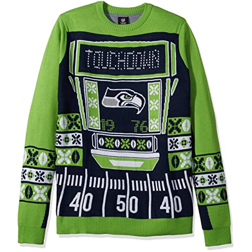 FOCO NFL Mens Ugly Light Up Crew Neck Sweater 76f72169a