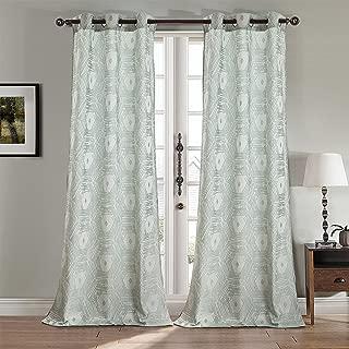 RT Designers Collection Harrington Jacquard 72 x 84 in. Grommet Curtain Panel Pair Aqua (Set of 2)