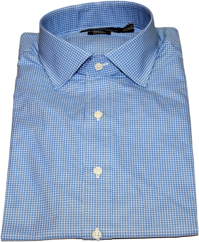 Ralph Lauren Polo Mens Regent Dress Button-Down Check Shirt Blue White 16 32/33 $125