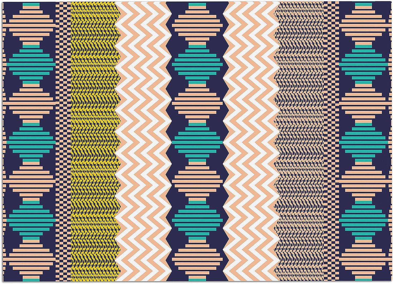 KESS InHouse EM1039ADM02 Akwaflorell Knitted 3  Coral Teal Pattern Dog Place Mat, 24  x 15