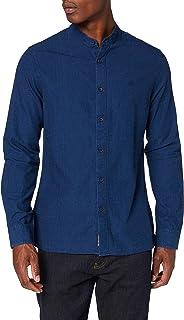 Calvin Klein Jeans Men's Band Collar Indigo Dobby Shirt Casual