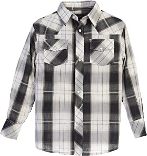 Gioberti Boys Casual Western Plaid Long Sleeve Pearl Snaps Shirt