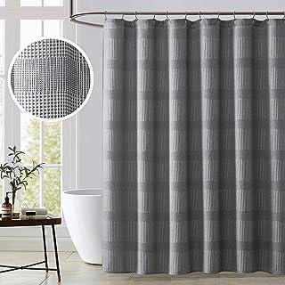KOMFIER Bath Shower Curtain, Stripe Waffle Weave, Premium Heavy Weight Fabric(Grey, 72x72 inches)