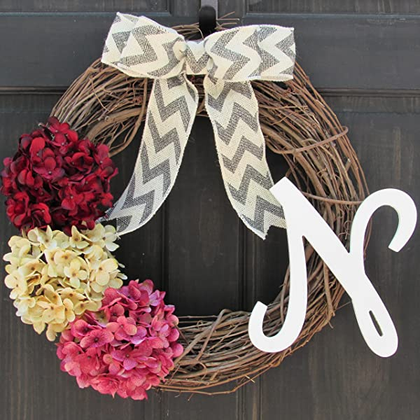 Personalized Hydrangea Grapevine Spring Summer Valentines Day Wreath With Monogram For Front Door Decor Initial Letter Choice Burgundy Red Cream Off White And Rose Pink