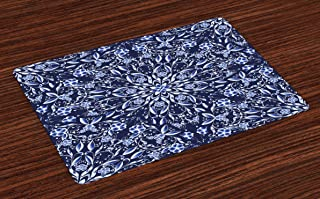 Ambesonne Dark Blue Place Mats Set of 4, Chinese Painting Style Artwork Traditional Floral Interlace Print, Washable Fabric Placemats for Dining Table, Standard Size, Dark Blue