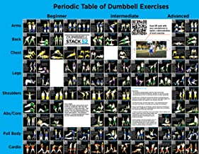 Stack 52 Dumbbell Exercise Poster (Large): Periodic Table of Dumbbell Exercises. Video Instructions Included. for Training with Adjustable Free Weight Sets & Home Gym Fitness Full Body Workouts.