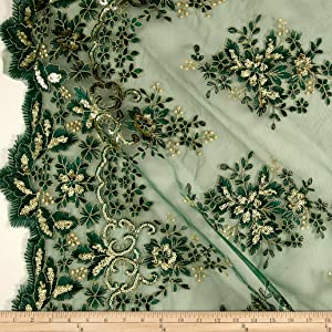 Unique Quality Fabrics Starlight Sequin & Mesh Lace Rowley Pine Green Fabric by The Yard,