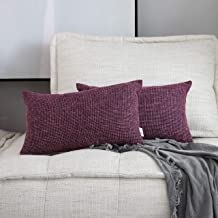 "Kevin Textile Star Faux Linen Square Solid Pillow Case Chair/Couch/Sofa, 12""x20"", 2 Pc, Red Purple"