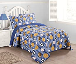 Kute Kids 2-3 Piece Quilt Set Including Sham(s) – Available in Twin and Full Size – Perfect for Toddlers and Boys – Baseball, Football, Soccer and Basketball Design (Blue, Twin)