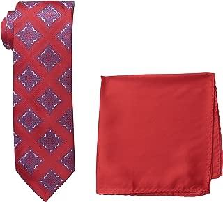 Men's Medallion Necktie and Solid Pocket Square