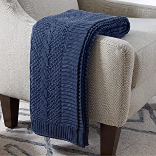 Stone & Beam Transitional Chunky Cable Knit Throw Blanket 100% Cotton, Indigo