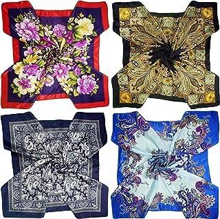 مجموعة من 4 قطع كبيرة 35 × 35 بوصة من الساتان مربع الأوشحة الرقبة وشاح الرأس