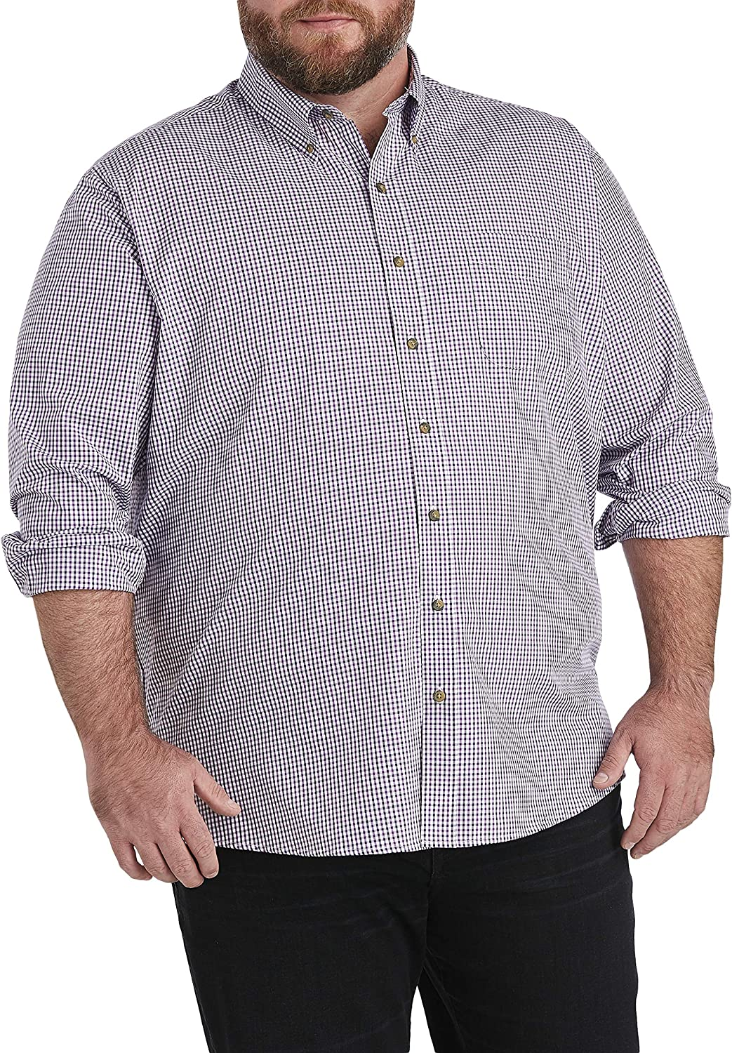 Harbor Bay by DXL Big and Tall Easy-Care Gingham Sport Shirt, Purple Plumeria