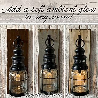 LANTERN Wall SCONCE Edison Hanging Lighted Lantern Light with Battery Operated LED Bulb Rustic Farmhouse Wood Metal & Glass with Hook - Reclaimed Country Distressed Decor - Antique White Gray Brown