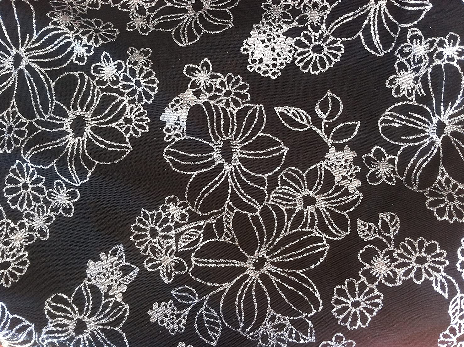 Fancy Black Tulle Fabric with Floral Silver, Glitter Design ~ 3 Yds~58