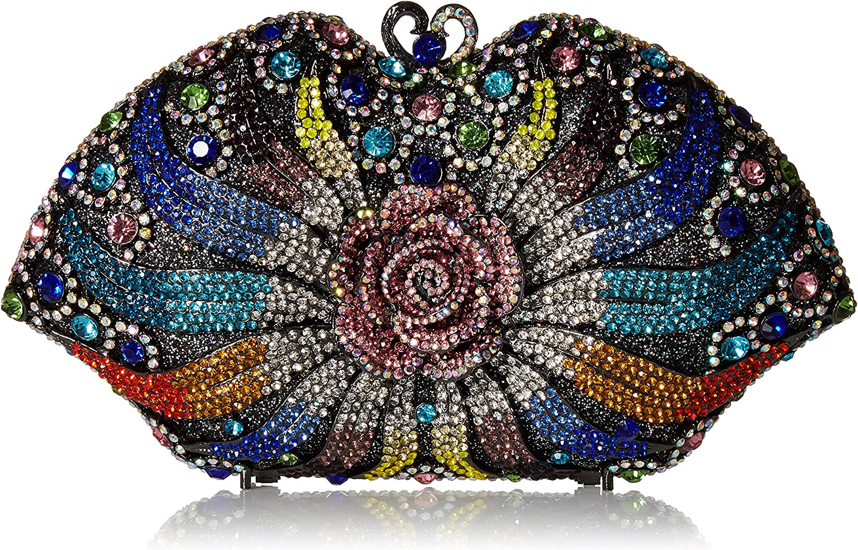 1930s Handbags and Purses Fashion MUUHOO Luxury Crystal Clutch for Women 3D Flower Rhinestone Evening Bag (Colorful) Medium  AT vintagedancer.com