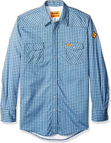 Wrangler Hommes's Big & Tall Flame Resistant Western Two Pocket Snap Shirt, bleu Plaid, 3X