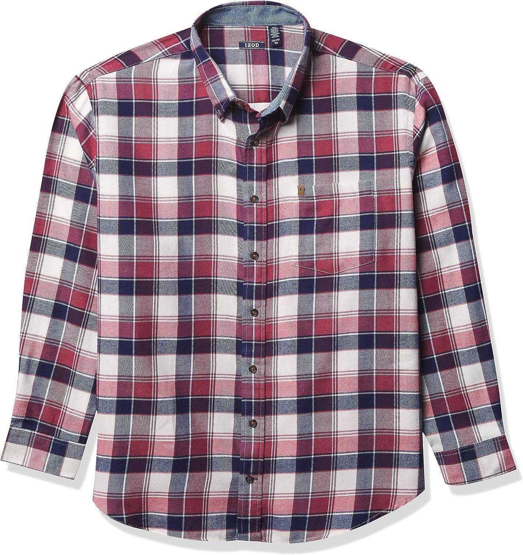 IZOD Men's Big & Tall Big and Tall Advantage Performance Flannel Long Sleeve Stretch Button Down Shirt