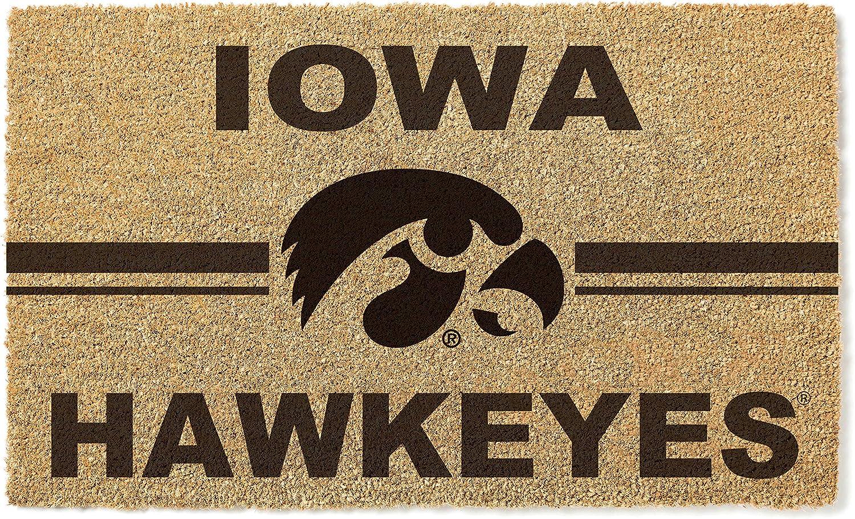 KH Sports Fan Free shipping on posting reviews Iowa Hawkeyes Logo Team Doormat Multi 5 ☆ very popular Coir