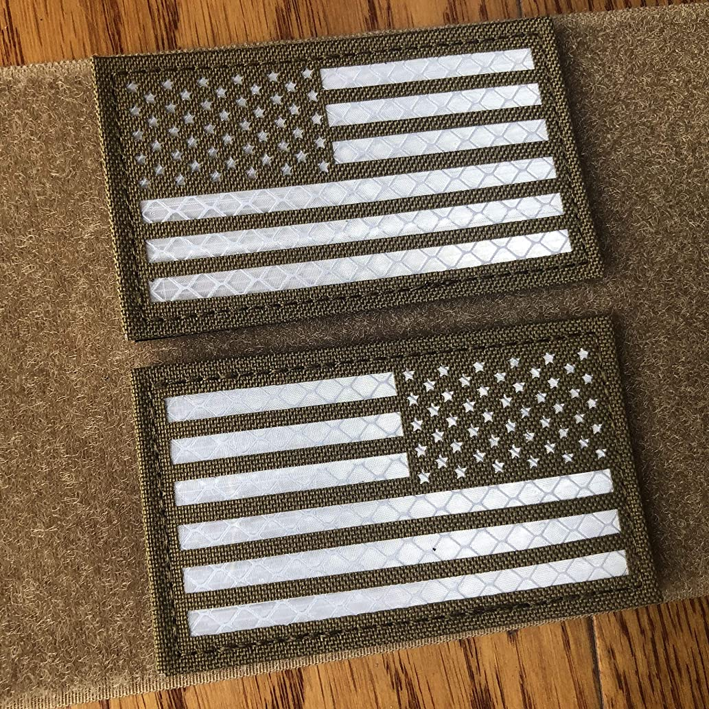 2x3.5 Inch Coyote Brown Tan Reflective US USA American Flag Patch Tactical Vest Patch Hook-Fastener Backing (White) (Forward and Reversed)