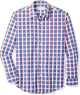 Amazon Essentials Men`s Regular-Fit Long-Sleeve Plaid Casual Poplin Shirt