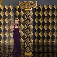 Shindigz 8 ft. 7 in. Black and Gold Mardi Gras Masquerade Column with Topper Photo Booth Prop Background Backdrop Party Decoration Scene Setter