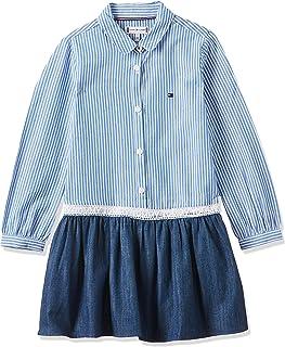 Tommy Hilfiger Girl's M Combi Dress, Blue (Denim/Shirt Blue 901)