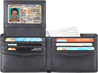 Genuine Leather RFID Blocking Wallets Mens Wallet Bifold Classic (2 ID Window Napa Black Updated)