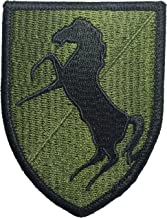 11th Armor Cavalry Regiment Black Horse HQ Military U.S. Army Tactical Logo DIY Applique Embroidered Sew on Iron on Emblem Badge Costume Patch - Olive Drab Od