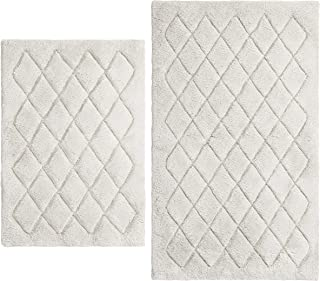 Vera Wang Marquis Diamond Bath Rug Set, 17 x 24, Grey