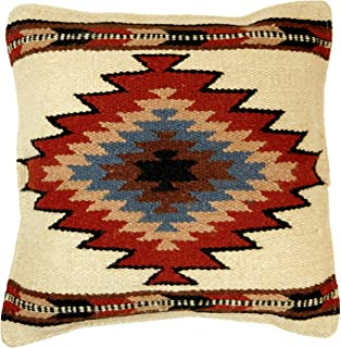 El Paso Designs Throw Pillow Covers, 18 X 18, Hand Woven in Southwest and Native American Styles. Hand Crafted Western Decorative Pillow Cases in Wool. (Silver Cloud 22)