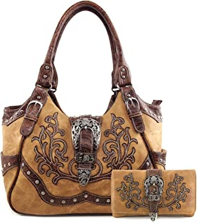 Justin West American Albino Floral Embroidery Buckle Shoulder Concealed Carry Handbag Purse